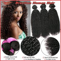 Curly virgin indian hair remy hair - 3Pcs Queen Products inch Natural Color A Brazilian Kinky Curly Extension Unprocessed Virgin Remy Human Hair Weave Double Weft