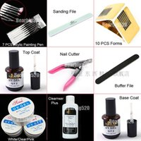 acrylic paint primer - Hot Sale Nail Gel Acrylic Kit colors UV Extended Gel Top Coat Primer Acrylic Painting Pen Smooth File Cutter Buffer Forms