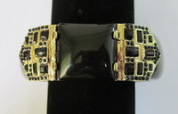 african jet - new jet resin bangle with gold plated geometrical casting jet stons lead free