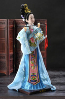 antique oriental figurines - Oriental Broider Doll Chinese Old style figurine China doll girl statue blue