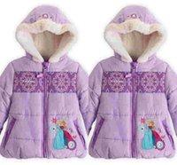 Wholesale 2014 Frozen Down Coat Cotton Puffer Jacket Girl FROZEN Winter Fleece Outerwear Anna and Elsa Children Hooded Christmas Kids Parkas
