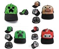 lorries - 2015 new minecraft hat Minecraft Creeper Mesh Caps Cartoon Trucker Caps Lorry Caps Men Adjustbale Hats colors