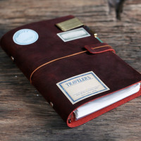 Wholesale A6 Genuine Dark red Leather Notebook ring binder Leather journal refillable Sketchbook gift set