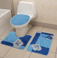 Cheap 3PCS Toilet seat cover bathroom accessories new year christmas decoration holiday gift floor rug cover foot pad