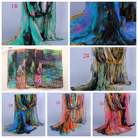 long silk scarf - Hot sell Fashion Women s cotton voile Flower Oil Painting Long Wrap Shawl Beach Silk Scarf X cm color ab702