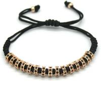 acrylic stopper - New Anil Arjandas Macrame Bracelets K Rose Gold Micro Pave Black CZ Stoppers Beads Briading Macrame Bracelet For Men Jewelry