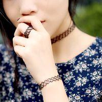 vintage ring - Charming Vintage Style s Black Tattoo Choker Necklace Bracelet Ring Set Elastic Stretch Gothic Jewelry Sets J0035