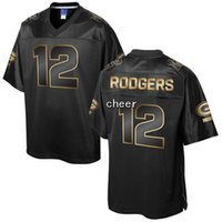 bay pro - 2016 Men s Pro Line Black Gold Collection Green Bay Aaron Rodgers Jerseys Football Jerseys Good Quality
