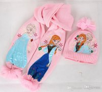 Wholesale Girls christmas gifts Pink frozen scarf hat set frozen scarves cap Anna Elsa Children knit Accessories kids girl hats scarves sets set
