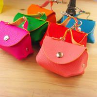Wholesale Random Color Unisex Men Women Girls Cute Faux Leather Portable Coin Purse Change Bag Wallet Pouch Keyring ZS0068 Smileseller