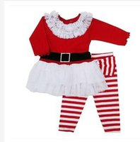 Cheap Kids Clothes kids christmas Christmas Outfits Baby Girl Long Sleeve Tulle Gauze Dresses Striped Pants Autumn Winter christmas dresses A610
