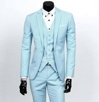 baby trimmer - New Style Side Vent Groom Tuxedos Baby Blue Best Man Suit Notch Lapel Wedding Groomsman Men s Suits Bridegroom Jacket Pants Tie Vest J751