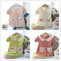 Wholesale kids cashmere sweaters Fashion Solid Color Autumn bowknot Girl Cardigan Coat sweaters with ruffles D1936