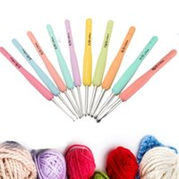 Wholesale Aluminum Crochet Hooks Knitting Needles Set Multicolor Soft Plastic Handle Weave Craft10 Sizes mm mm