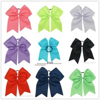 cheer bow holder - 8 quot Large Cheer Bow With Elastic Band Cheerleading Hair Bow Dance Cheer Bow Ponytail Hair Holder For Girls Hair Accessories