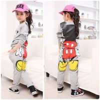 Spring / Autumn baby tracksuit - New Baby Girls Kids Mickey Minnie Tops Hoodies Pants Sportwear Tracksuit Outfits for Y