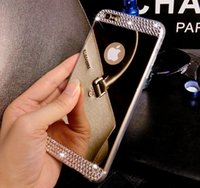 Wholesale 2015 new Glitter rhinestone phone case for iphone iphone plus s Electroplate Mirror cellphone backcover soft tpu smartcover