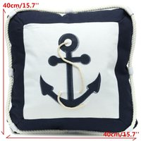 Wholesale New cm Mediterranean Rudder Anchor Sailing Boat Canvas Throw Pillow Cover Office Home Supplies Pillowcase Pads
