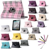 Wholesale For iPad iPad iPad PU Smart Stand Case Cover Rotating with Screen Protective Film Stylus Pen as Gift