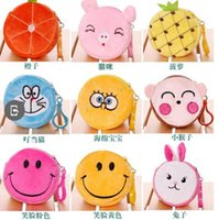 Wholesale Baby Girls Carton Purse Plush wallet Change Pocket Round Purse Coin Pocket Korean Style Kids Bags PR01
