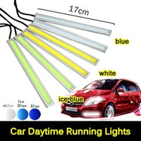 Wholesale Ultra Bright W cm Silver Shell Daytime Running light Waterproof COB Day time Lights LED Car DRL Driving lamp