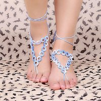 Wholesale Gradient Color Cotton Thread Crochet Chain Anklet Foot Jewelry Barefoot Ankle Bracelet Sandal Beach Anklets