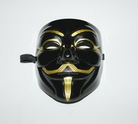 Wholesale High Quality Black Party Mask V For Vendetta Gold Beard With Nostrils Guy Fawkes Halloween V Masks PVC Cosplay