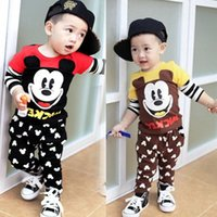 mickey - High quality Baby Spring Autum Boys Cartoon Mickey Sets Suits Top T shirt Trousers Kids Cotton Outfits Children Clothes HS B03