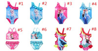 baby swimwear - 2015 girls frozen swimsuit models girl beach wear baby kids one piece bikini swimwear children swimming clothing J042401 DHL FREESHIP z