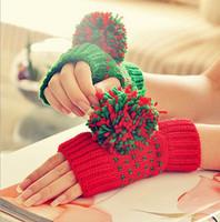 Wholesale AAAA Fashion Women Winter AB Gloves ladies winter Arm Gloves Knitted Fingerless Gloves Rabbit Fur knitted Gloves Mittens LJJD1558 pairs