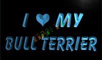 achat en gros de publicité chien-LM033-TM I Love My Bull Terrier Pet Dog Neon Light Sign. La publicité. panneau conduit, livraison gratuite, en gros