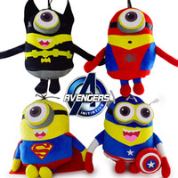 cosplay avengers al por mayor-Cosplay Avengers Minion Juguetes 10Pcs / Lot Capitán América Superman SpiderMan Batman 22CM 3D Ojos Plush Toys Despreciable Me Brinquedos 00819