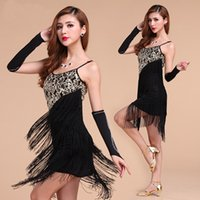ballroom dresses - Latin Salsa Tango Cha cha Ballroom Competition Sequined Tassels Belly Dance Dress Colors