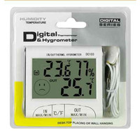 Wholesale DHL LCD Digital Thermometer Hygrometer Outdoor Indoor Temperature Humidity Meter Tester Clock w Magnetic DC102 DC103 Weather Station