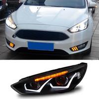 Wholesale 2 Set Car Styling LED Headlight Kit Daytime Running Light DRL Turning light ABS For Ford Focus sedan Hatchback