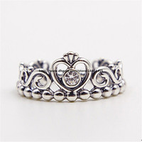 Wholesale Fashion Jewelry Ring Women Ring European Style Charm Ring High quality Sterling Silver Princess Tiara Ring with Clear Cz