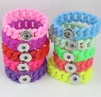 Wholesale DIY Personalized Silver Noosa Snap Chunk Jewelry Newest Fashion Silicone Stretch Bracelets Fit mm Snap Buttons NAB001