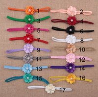 Wholesale 2014 Hot sale Baby Sunflower Hairband With Pearls Mini Satin Ribbon Flower headbands With Pearl Toddler Girl s Hair Accessories
