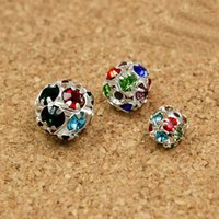 base metal spacer beads - 6mm mm mm pack Round Mixed Colour Metal Base Silver Plated Rhinestone Loose Spacer Ball Beads for Shamballa Bracelet