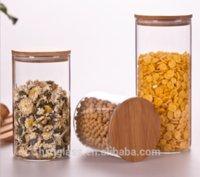 Wholesale glass jar wedding bottles high borosilicate glass jar with bamboo lid