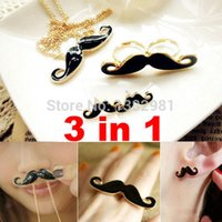 ao earring - New Fashion Black Jewelry Mustache Pendant Necklace Double Ring Earrings Set AO P
