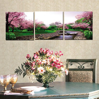 apple blossom pictures - 3 Pieces unframed on Canvas Prints Peach blossom river grassland rose butterfly Lavender Apple Banana orange rose flower
