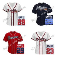 atlanta shirt - women Baseball Jersey Atlanta Braves Jersey John Smoltz Johnson ladies Baseball Jerseys Shirt Embroidery Logos stitched size S XL