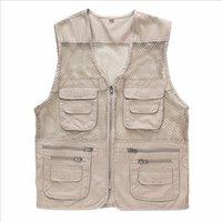 Wholesale Fall Summer Mesh Vest Multi pocket Outdoor Hiking Vest Photography Vest Working Waistcoat Size L XL