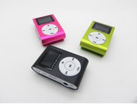 Wholesale Mini Clip MP3 Music Player With LED LCD Screen Support Micro TF SD Memory Card Earphones USB Cables Come With Crystal Retail Boxes DHL