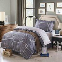 bed linen - 100 Cotton Bedding set Duvet cover set printed Grey plaid Bed linens twin size