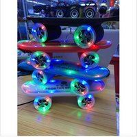 aac audio player - 2015 Christmas Gift LED Flash Kick scooters Mini bluetooth speakers wireless Subwoofer Stereo Portable Skateboard speaker for Ta