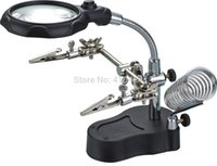 Wholesale MG16126 A Helping Hands Clip Soldering Station Iron Stand LED Magnifier Clamp Tool