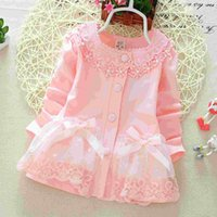 Wholesale Spring children s clothes Korean girls Cardigan jacket child Candy colored Cardigan Sweater hem lace coat