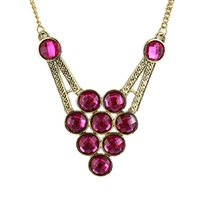 Wholesale Hotpink Blue and White Color Luxury Round Created Crystal Necklace for Women